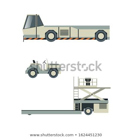 luchthaven · grond · geïsoleerd · ingesteld · stijl · vrachtwagen - stockfoto © studioworkstock