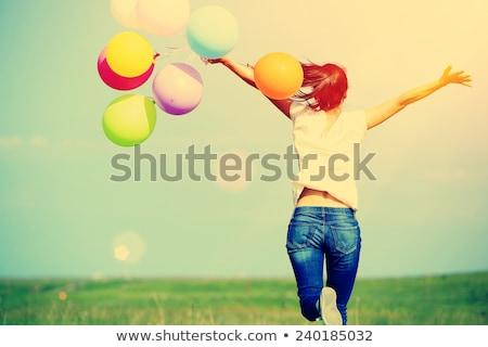 ジャンプ · 風船 · 美しい · アスレチック · 少女 · バルーン - ストックフォト © is2
