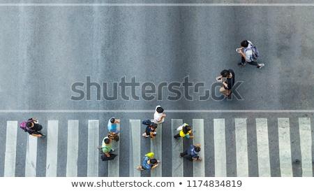 Lány sétál okostelefon gyalogos illusztráció Stock fotó © adrenalina