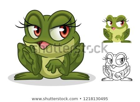 Frog Female Cartoon Mascot Character In A Pond Stock photo © hittoon