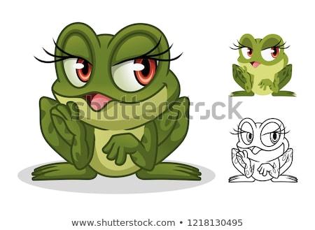 béka · dagadt · víz · természet · zöld · állat - stock fotó © hittoon