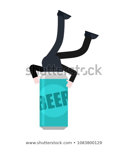 Człowiek piwa żelaza puszka wektora wody Zdjęcia stock © MaryValery