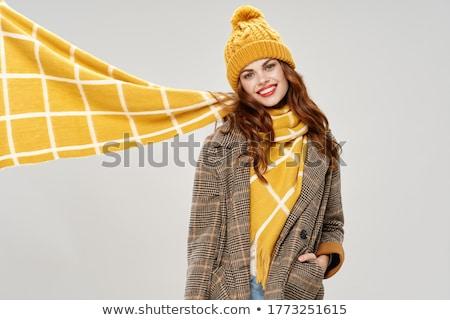 Portré izgatott szőke nő színes fejkendő bőr Stock fotó © feedough