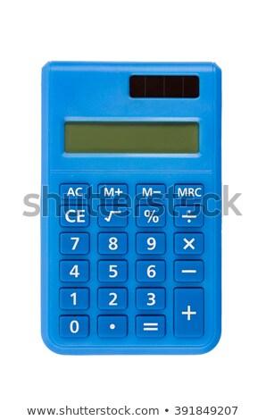 Kék számológép izolált fehér vágási körvonal iroda Stock fotó © kravcs
