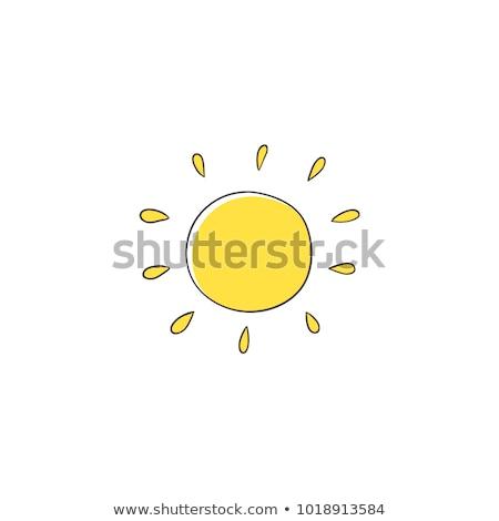 Drăguţ soare mascota de desene animate simplu proiect Imagine de stoc © hittoon