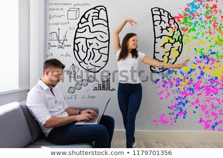 Woman Dancing Near Her Husband Working On Laptop Stock photo © AndreyPopov