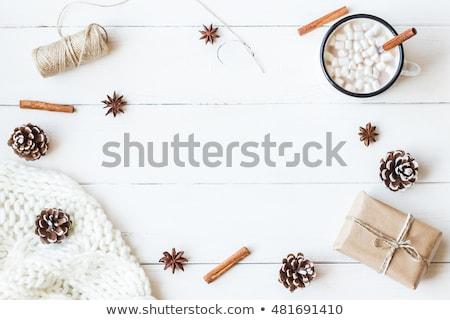 Karácsony ajándék doboz forró csokoládé mályvacukor csésze fenyőfa Stock fotó © karandaev