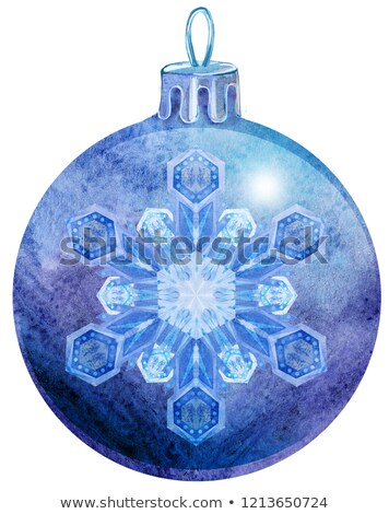 watercolor violet christmas ball with snowlake isolated on a white background stock photo © natalia_1947
