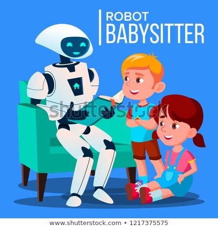 ロボット ベビーシッター 読む 図書 子 ソファ ストックフォト © pikepicture