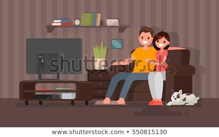 romantic couple   modern flat design style illustration stock photo © decorwithme