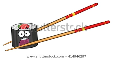 Panik sushi rulo karikatür maskot karakter Çin yemek çubukları Stok fotoğraf © hittoon