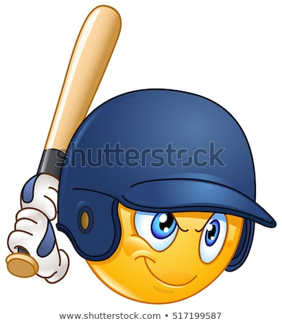 Happy Softball Player Cartoon Character Holding A Bat And Glove With Ball Stock photo © hittoon