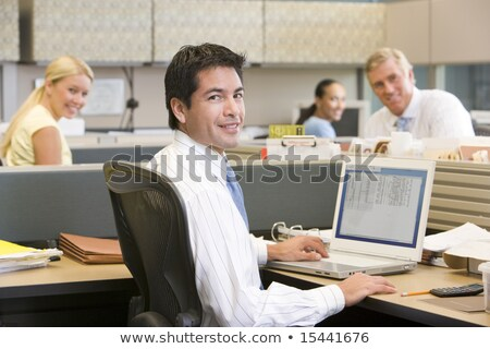 бизнесмен · кабина · улыбаясь · служба · человека · счастливым - Сток-фото © monkey_business