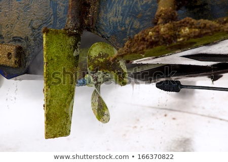 beached boat hull stern dirty for antifouling Stock photo © lunamarina
