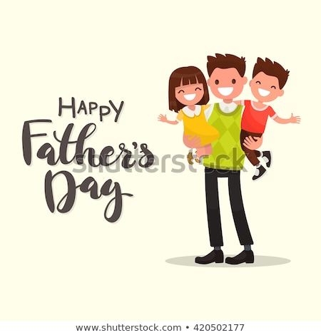 Fathers Day Poster Dads Holding Son and Daughter Stock photo © robuart