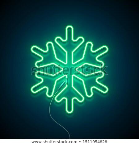 Mavi neon kar taneleri dizayn soyut ışık Stok fotoğraf © SArts