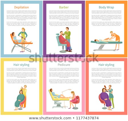 Depilation and Hair Stylist Posters Text Vector Stock photo © robuart