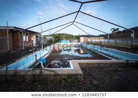 Verlaten zwembad eiland nu groeiend schemering Stockfoto © lovleah
