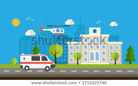 hospital building vector medical concept facade ambulance urgency and emergency services isolat stock photo © pikepicture