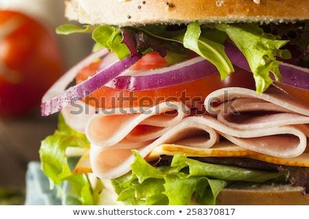 uzun · sandviç · jambon · peynir · domates - stok fotoğraf © mythja