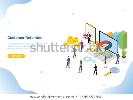 Flat isometric vector landing page template for customer retention strategy. Stock photo © TarikVision