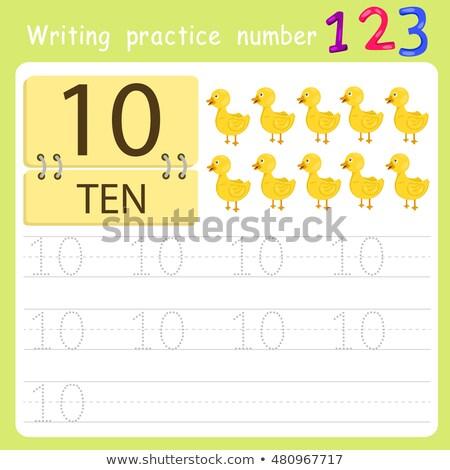 matematyki · piśmie · numer · dziewięć · ilustracja · kwiat - zdjęcia stock © colematt