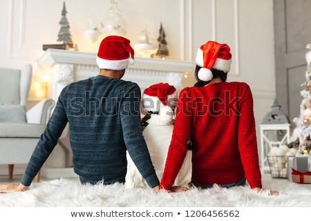 Father and Children Spending Time by Fireplace Stock photo © robuart