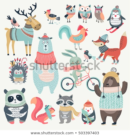 Merry Christmas Fox and Bunny Posters Set Vector Stock photo © robuart