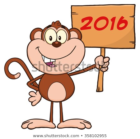 Monkey Cartoon Character Holding Up A Wood Sign With Numbers Stock photo © hittoon