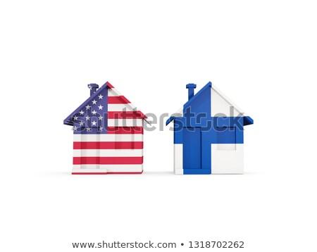 Kettő házak zászlók Egyesült Államok Finnország izolált Stock fotó © MikhailMishchenko