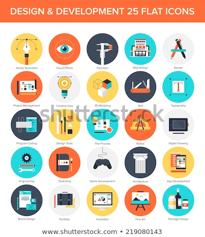 Stock photo: Engineering flat icons set