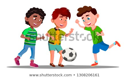 Afro American, European And Asian Boys Play Football In International Football Team Vector. Isolated Stock photo © pikepicture
