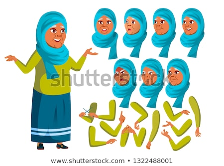 Arab, Muslim Old Woman Vector. Senior Person. Aged, Elderly People. Face Emotions, Various Gestures. Stock photo © pikepicture
