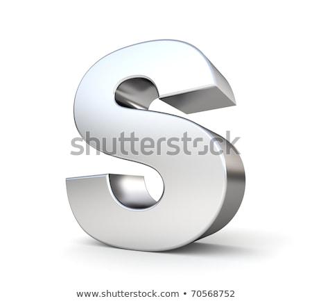 Króm betűtípus színes tükröződések levél 3D Stock fotó © djmilic