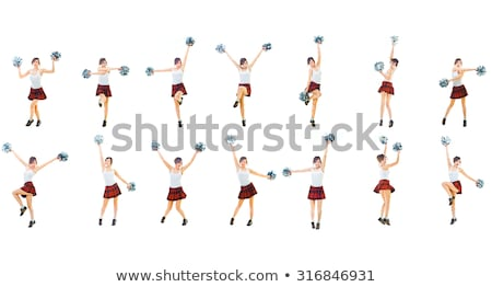Pompomlány izolált fehér nő mosoly tánc Stock fotó © Elnur