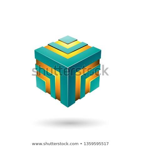 Persian Green Bold Striped Cube Vector Illustration Stock photo © cidepix