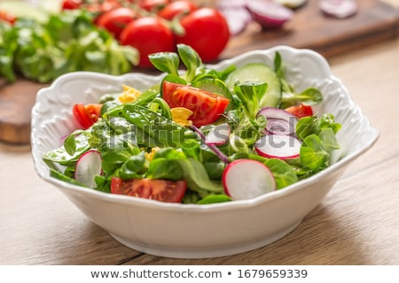 Healthy salad with prosciutto, tomato and egg Stock photo © furmanphoto