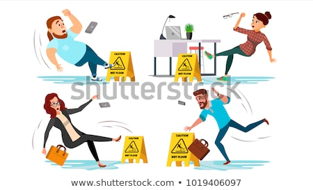 Slippery Concept Vector. Wet Slippery Floor. Slip People And Fall On. Illustration Stock photo © pikepicture