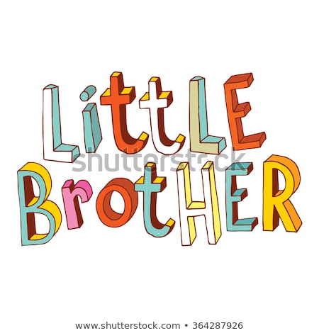 Siblings, Cheerful Brothers and Sisters Vector Banner Concept Stok fotoğraf © pikepicture