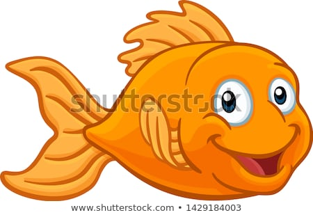 goldfish in gold fish bowl cute cartoon character stock photo © krisdog