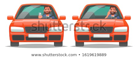 Using mobile phone while driving. Flat vector illustration Stock photo © makyzz