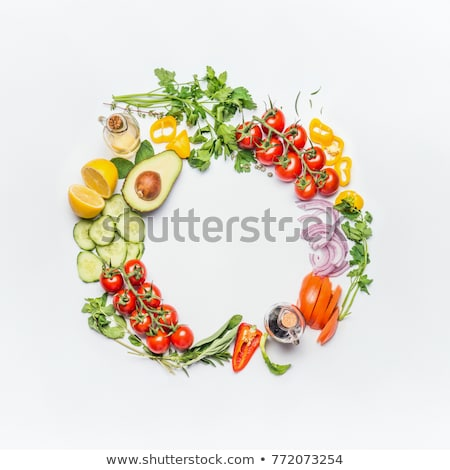variety of green vegetables and herbs clean eating food concept stock photo © marylooo