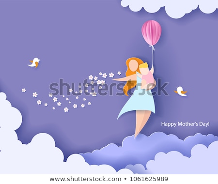Happy Mothers Day card of papercut mom and kid Stock photo © cienpies