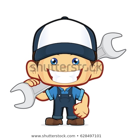 smiling mechanic cartoon character with tire and huge wrench stock photo © hittoon