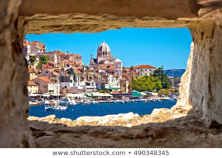 Historic UNESCO town of Sibenik old harbor and waterfront view Stock photo © xbrchx