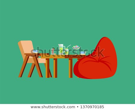 wooden chair table soft bag fresh drink vector stock photo © robuart