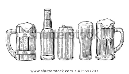Hand Drawn Glass With Foam Bubble Beer Set Vector Stock photo © pikepicture
