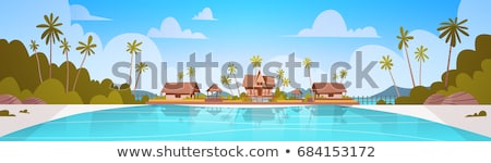 View of sand beach and hut at tropical island Stock photo © vapi