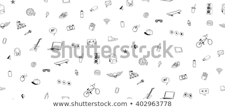 Sports hand drawn doodles seamless pattern. Monochrome vector background Stock photo © balabolka