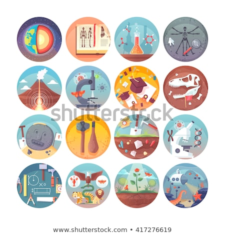 Archeology flat icon set Stock photo © netkov1